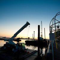 work barge and crane